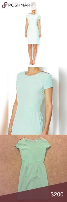 Dana-Maxx Agnyss Flores Mint and Sequin Silk Dress This Dana-Maxx Agnyss Flores silk dress is a pale mint with a delicate gold sequin shoulder. Conservative yet edgy, this knee length lined 100% silk dress is a sure fit for any wedding guest, bridal shower, or spring event! The dress is a size four but runs more like a two with its hidden full back zip. Dry cleaned only, wore once, smoke-free home; no rips tears or stains. Dana-Maxx Dresses Wedding