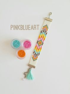 "FREE SHIPPING -- Mori"" Bracelet - Bead Loom Bracelet with Miyuki Delica Beads, Woven Adjustable Bracelet Personalized Jewelry (Model: Mr015)"