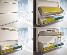 The Lollisoft Space Saving System is a wall bunk bed that folds away into your wall when not in use!