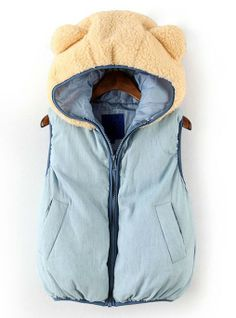 Just too cute. Haven't figured out if it is for kids or adults though! Blue Hooded Sleeveless Bear Style Vest