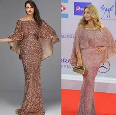 Luxury New design Arabic glitter Evening Gowns(Rose Gold/Gold) - Nirvanafourteen Wedding Dresses With Straps, Pink Prom Dresses, Mermaid Prom Dresses, Pretty Dresses, Gold Sparkly Dress, Spaghetti Strap Wedding Dress, Cape Gown, Pageant Gowns, Necklines For Dresses