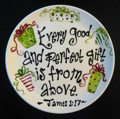 Hand Painted Ceramic Christmas Plate - Every Good and Perfect Gift The original artwork on each piece is hand painted using non toxic underglazes and kiln fired. I'm more than happy to create a custom design just for you. Sharpie Plates, Sharpie Crafts, Sharpies, Clay Plates, Ceramic Plates, Christmas Plates, Christmas Time, Christmas Decorations, Christmas Cookies