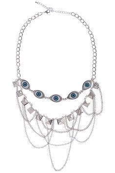 Eye & Hanging Chain Silver Necklace #Romwe