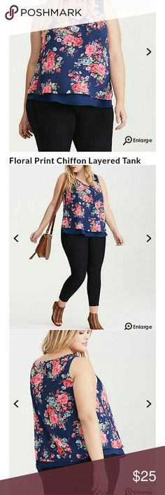 JUST PERFECT! Beautiful chiffon double layered tank top. Perfect shades of blue and floral design. Very comfy and flowing. torrid Tops