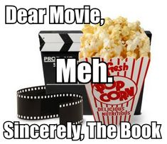 Book vs. movie. For more book fun, follow us on Pinterest = www.pinterest.com/booktasticfun and Facebook = www.facebook.com/booktasticfun