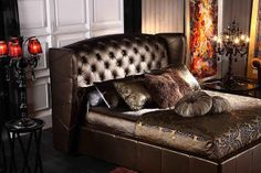 DRG Furnishings: Brown Tufted Headboard Bed with Exquisite, Sexy Bedding & lighting.