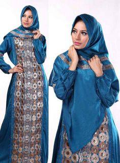 Contoh Model Gamis Batik Kombinasi untuk Orang Gemuk