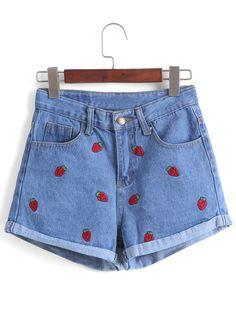 Strawberry Embroidered Cuffed Denim Shorts 11.00