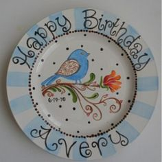 Whimsical bird birthday plate ~ made to match the baby\u0027s nursery! Cute!  sc 1 st  Pinterest & Birthday plate. Hand painted plate. Birthday gift. Unique gift. Gift ...