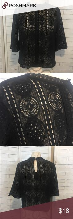 Harlowe and Graham lace top N.567 Beautiful black lace top in great condition! No flaws to note. Pullover style with a button closure in the back. Very pretty details! Boxy fit. Nordstrom Tops