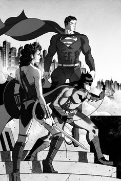 DC - Trinity - Wonder Woman, Batman, and Superman - Batman Ninja, Batman And Superman, Comic Books Art, Comic Art, Marvel Dc, Marvel Comics, Fictional Heroes, Dc Trinity, Geeks