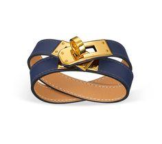 "Kelly Double Tour Hermes leather bracelet (size S) Sapphire blue swift calfskin  Gold plated hardware, 2.25"" diameter, 14.5""long, 0.5""wide,"