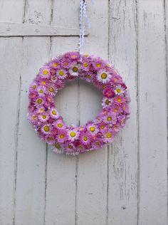 Valentine Dried Flower Wreath, wedding wreath, wedding decoration, pink flowers, summer wreath, dried flowers, country wedding by BellaPoppyFlowerArt on Etsy