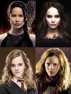 Katniss Everdeen (Jennifer Lawrence) and Hermione Granger (Emma Watson)
