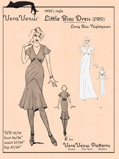 1930s bias cut LBD + instructions on sizing it up or down to fit you plus instructions on turning it into a nightgown.