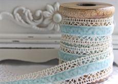 Blue velvet and lace ribbon