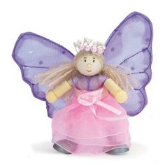 Fleur the Butterfly Budkin Budkins are friendly little creatures with bendable arms and legs. Approx 10cm tall. For ages 3+ Choking Hazard. Designed in Brita