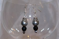 Silvertone Grey Metal Pearl and Black crystal by TheEccentricBead
