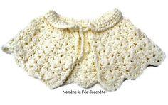 Cape blanche, chauffe-épaules pour adulte ou enfant, au crochet fait main