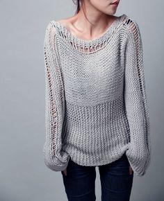 Punto de la mujer suéter Eco algodón en color gris claro