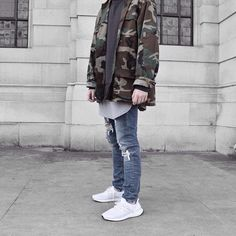 Camo jacket and @adidasoriginals White ultra boosts