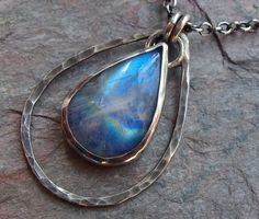 Rainbow Moonstone Teardrop Cabochon Bezel Set in Sterling Silver Pendant Necklace (138.50 USD) by inlovewithart