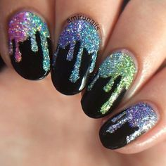 Nails Art Unicorn Nailart Ideas For 2019 Nail Art Einhorn Nailart Ideen für 2019 Cute Nails, Pretty Nails, My Nails, Drip Nails, Acrylic Nails, Nail Art Halloween, Nail Effects, Unicorn Nails, Rainbow Nails