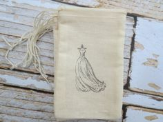 10 Hand stamped muslin favor bags - wedding dress - gift bag, favor bag, weddings, showers, paris, treat bags, bridesmaids, bachelorette on Etsy, $8.00