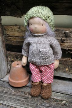 Knitted jumper, boots and topper by Little Jenny Wren