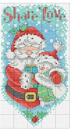 Kreuzstich Santa Cross Stitch, Cross Stitch Boards, Cross Stitch Needles, Cross Stitch Heart, Cross Stitch Patterns, Christmas Embroidery Patterns, Nouvel An, Plastic Canvas Patterns, Christmas Cross
