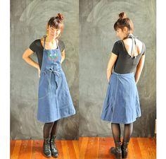 Vintage 1980s 100% Cotton Denim Apron Dress with by drowsySwords