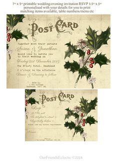 Printable christmas wedding invitation, vintage winter holly invitation rsvp, digital wedding invitation, diy christmas wedding invite,