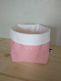 Panier tissu vide poche rose corail et blanc, corbeille tissu coton rose corail à pois pastilles