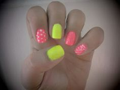 Neon yellow and pink nail art design