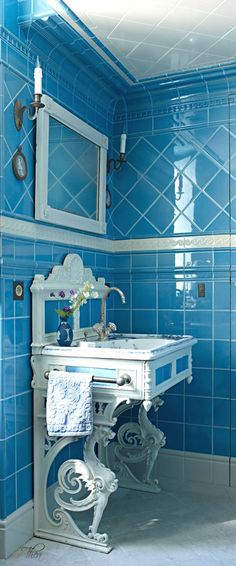 iles by Original Style and a painted wrought-iron washbasin in this Bordeaux, France, bathroom designed by Michael Coorengel and Jean-Pierre Calvagrac. Read more: One Of A Kind Bathrooms - Unique Bathroom Design - ELLE DECOR Best Bathroom Colors, Blue Bathroom Decor, Bathroom Color Schemes, Bathroom Sinks, Blue Bathrooms, Colorful Bathroom, Bathroom Lighting, Bathroom Wall, 1950s Bathroom
