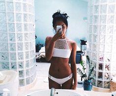 white high neckline bikini with mesh - super cute