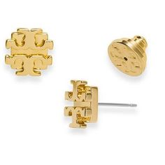 Tory Burch Logo earrings in GOLD Geometric and graphic, these brass earrings with a gold finish are the perfect polish to your outfit! Worn less than 5 times. I will include the adorable little dust bag with purchase. Tory Burch Jewelry Earrings