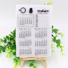 New Calendar Transparent Clear Durable Stamp Cling Sheet DIY Seal Card Scrapbook