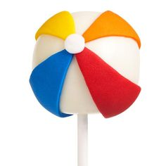 Beach Ball Cake Pops - We've turned an icon of summer into a delicious cake pop, perfect for any summer party or beach-theme birthday. Use white Candy Melts candy to coat your favorite cake ball pops and tinted Wilton White Ready-To-Use Rolled Fondant to decorate.