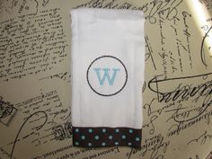 Personalized Burp Cloth with Polka Dot Grosgain by ChicRetro, $8.00