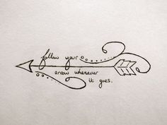 Follow Your Arrow Wherever It Goes – Black Outline Arrow Tattoo Stencil