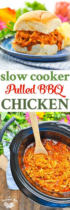 This Slow Cooker Pulled Barbecue Chicken is an easy dinner recipe and a great Crock Pot Freezer Meal! Chicken Breast Recipes   Slow Cooker Chicken   Healthy Dinner Recipes   Dinner Ideas