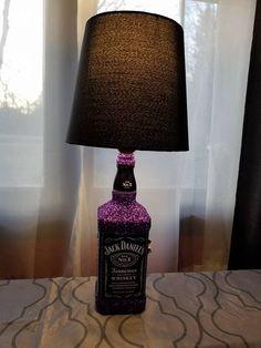 Pub Lounge Decor Desk Accent Light Home Bar Jack Daniels Fire Whiskey Liquor Bottle TABLE LAMP with Wood Base Man Cave Lighting