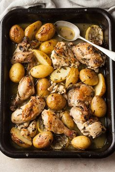 roast chicken in white wine, herbs and garlic