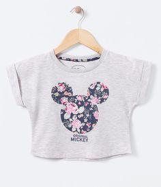 Blusa Cropped Infantil com Estampa Mickey - Tam 4 a 14 - Lojas Renner 66111e0352189