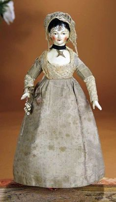 Early Grodnertal Wooden Doll with her original clothing