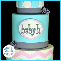 Pink and Blue Chevron Baby Shower Cake — Baby Shower