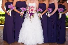 pink and purple bridal party florals Photo By Leah Marie Photography