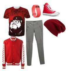 """Karkat"" by cydnneyl on Polyvore featuring Strenesse, Converse, Off-White, Fitbit, Halogen, men's fashion and menswear"