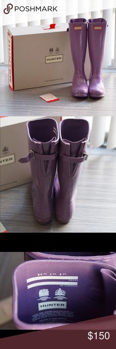 "NWB Hunter High Gloss Tall Rainboots Lavender Authentic Hunter boots, brand new with box, only tried on and never worn. High gloss finish. Dusty lavender color. Such a pretty shade of purple! I bought two sizes and these were too big for me. Size 7 which fits closer to a women's size 8. These are the regular women's sized pair and NOT the kid's version. Tall shaft measures approx 14.75"" + 1"" heel. Adjustable buckle back. ❌No trades❌Price firm unless bundled. Hunter Boots Shoes Winter & Rain…"